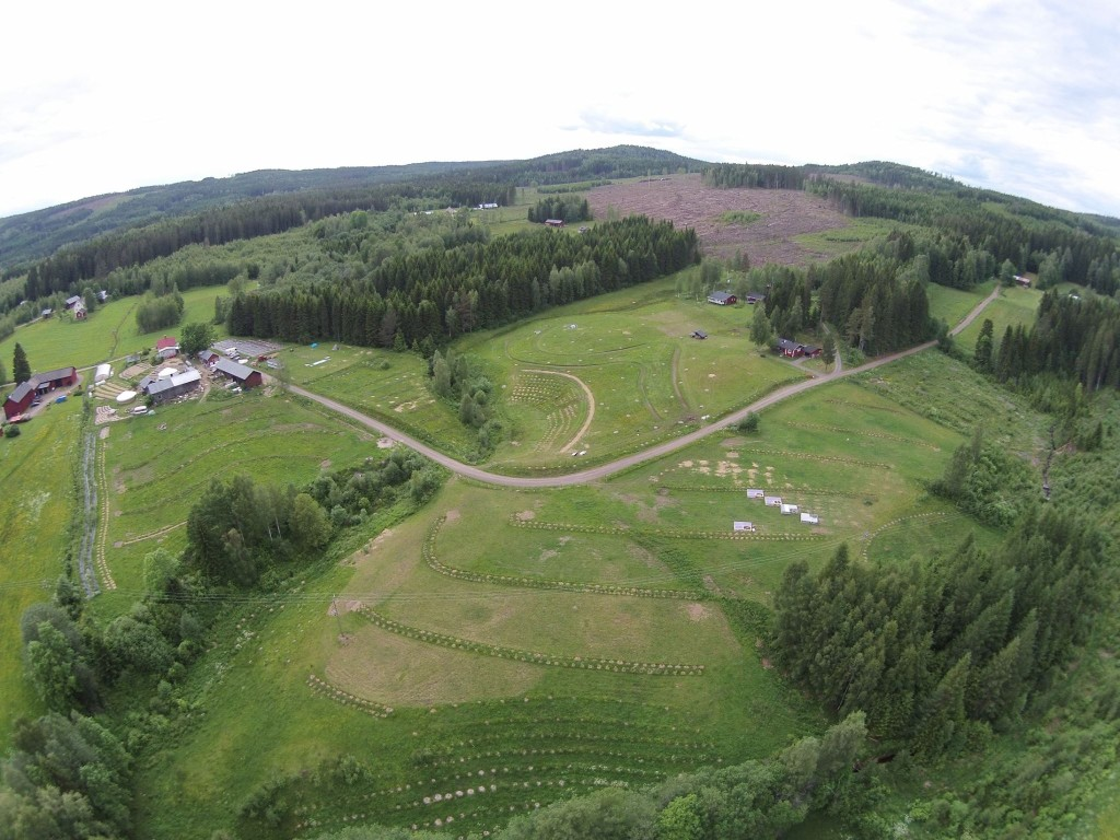Aerial View of Ridgedale Permaculture - a Keyline-inspired farm in Sweden