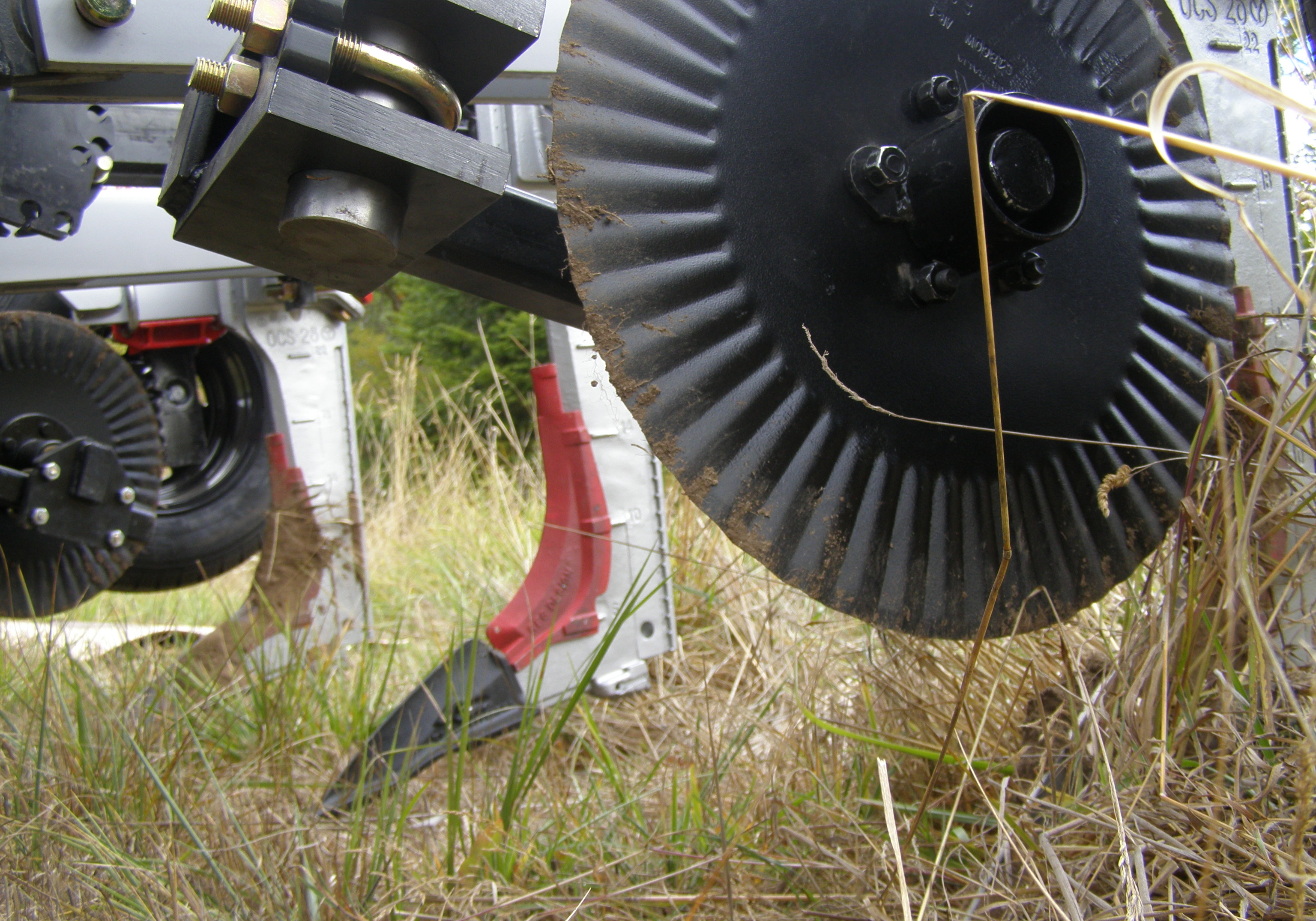 The 'Keyline Plow' coulter and shanks, designed for minimal surface disturbance.